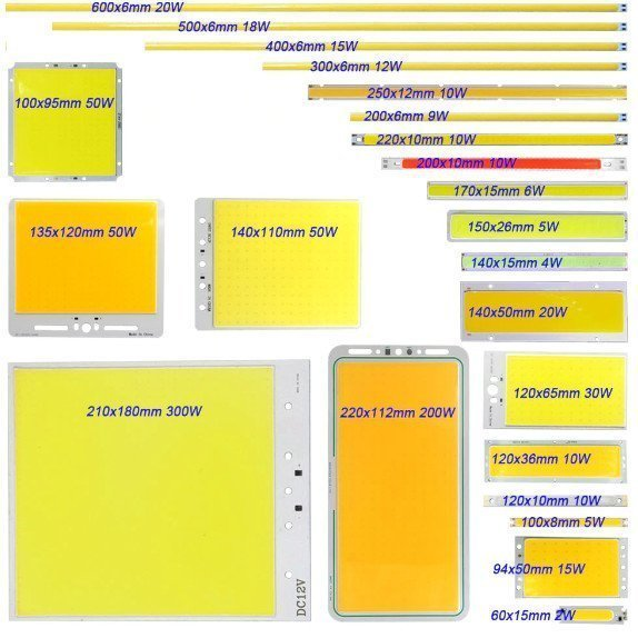 COB LED Chips werden in unterschiedlichen Formen angeboten.