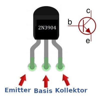 Der 2n3904 NPN-Silizium Transistor wird aufgrund seiner kleinen Bauart und der geringen Kosten oft verwendet.