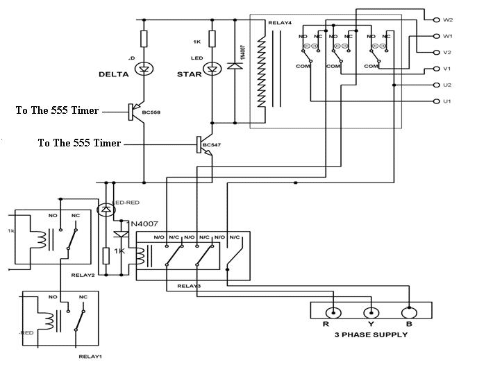 555 Timer ICs in einer Schaltung mit zwei Relais.