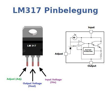 Pinbelegung der einstellbaren Konstantstromquelle LM317.