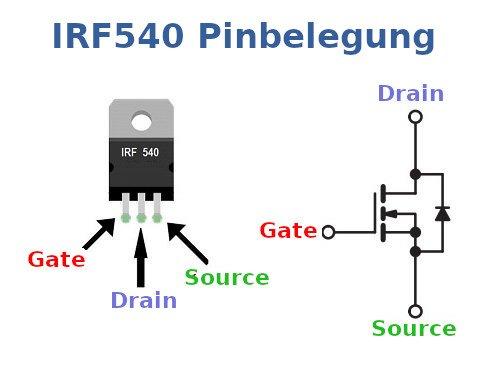IRF540 Pinbelegung.