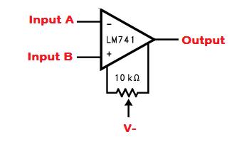 LM741 Offset-Nullschaltung.