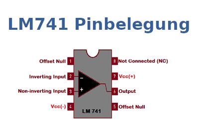 Die Pinbelegung des LM741 grafisch dargestellt.