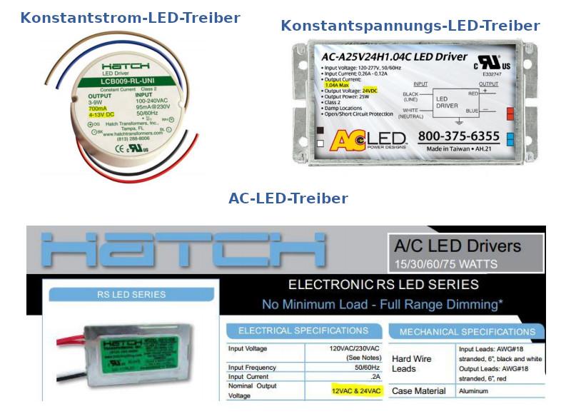 Konstantstrom-, Konstantspannung- und AC-LED-Treiber.