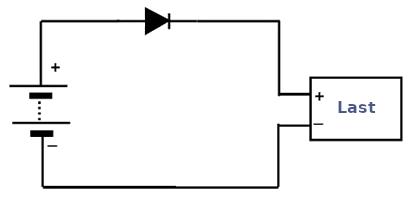 Rückstromschutz-Schaltung mit einer Diode.