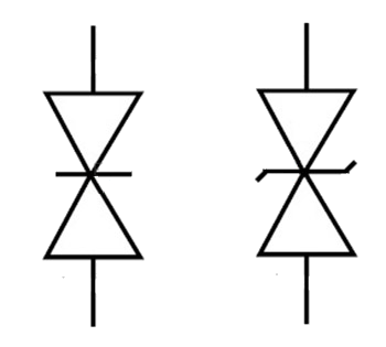 Schaltungssymbol einer Diode zur Unterdrückung transienter Spannungen.