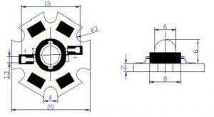 Abmessungen einer Highpower LED auf einem Alu-Kühlkörper.