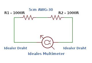 Lässt sich ein Leiterwiderstand zwischen zwei 1000 Ohm Widerständen messen?