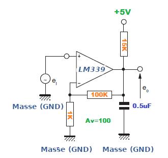Niederfrequenz-Operationsverstärker mit dem LM339.