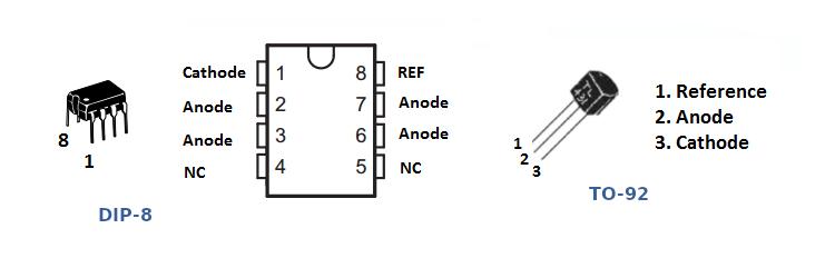 Anschlussbelegung des TL-341 in unterschiedlichen Bauformen.