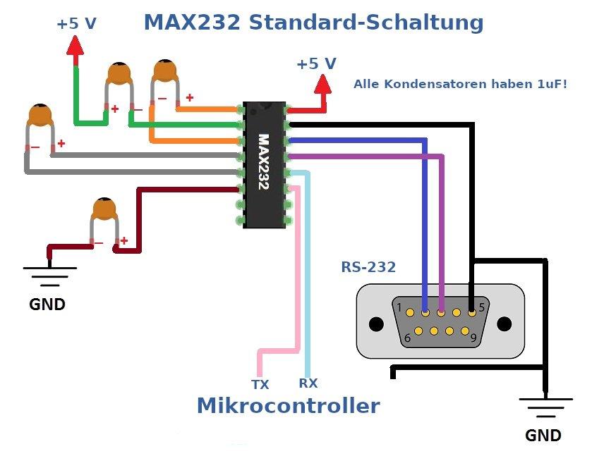 Einfache Schaltung für den MAX232.