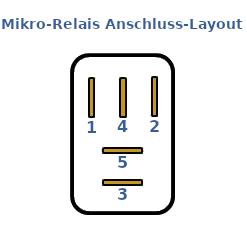 Anschluss Layout eines KFZ Mikro Relais.