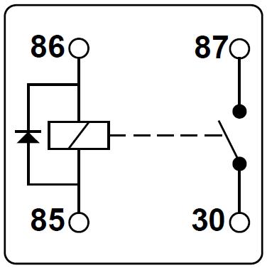 Schematische Darstellung eines Relais mit integrierter Diode.