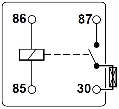 Schematische Darstellung eines Relais mit integrierter Sicherung.