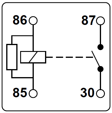 Schematische Darstellung eines Relais mit integriertem Widerstand.