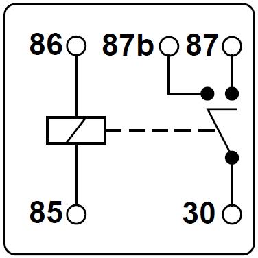 Schematische Darstellung eines Relais mit zwei Kontakten.