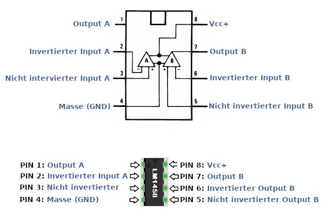 """alt=""""Anschlüsse und Beschaltung des LM1458 IC."""